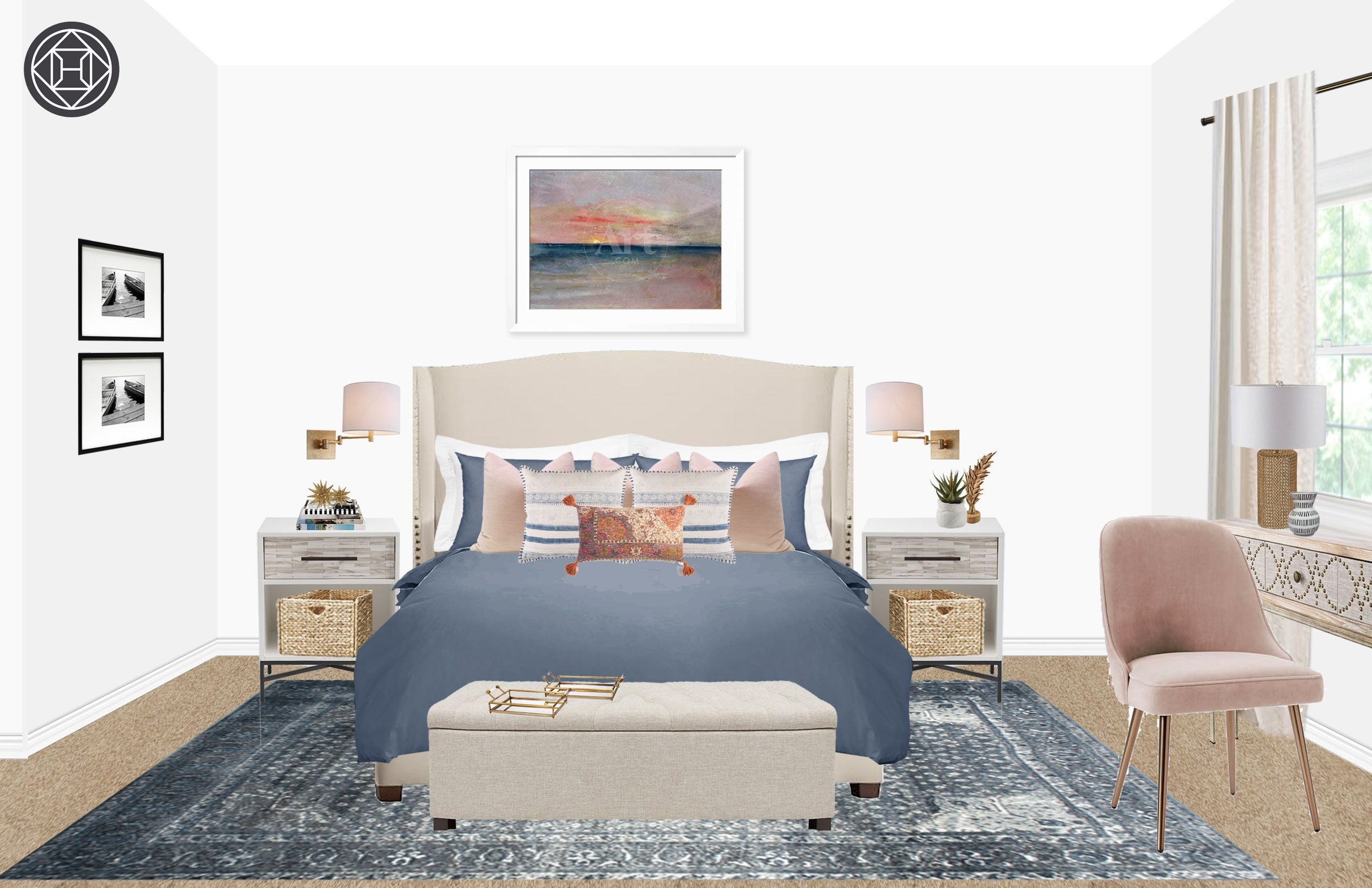 Contemporary Classic Coastal Transitional Bedroom Design By Havenly Interior Designer Kassy Transitional Bedroom Design Furniture Furniture Design