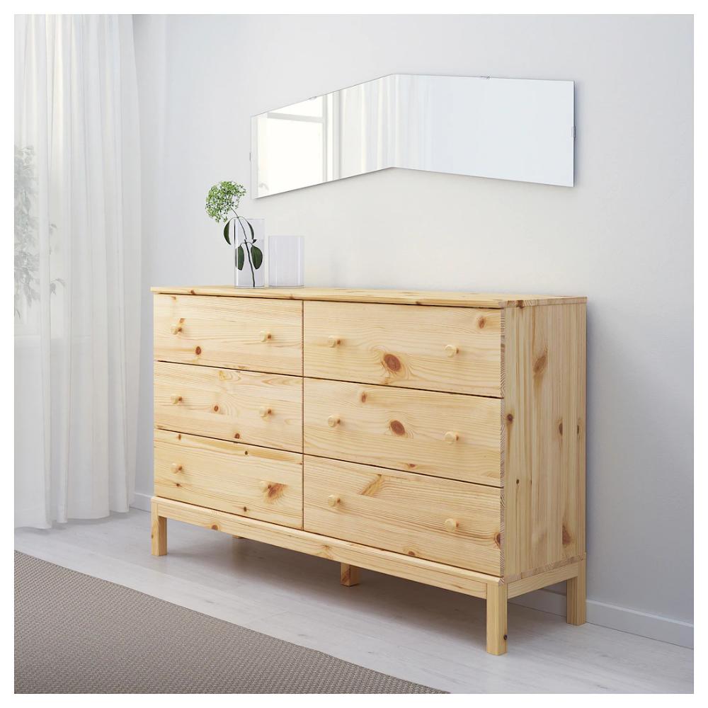 """TARVA 6drawer chest pine 59 1/2x36 1/4 """" 6 drawer"""