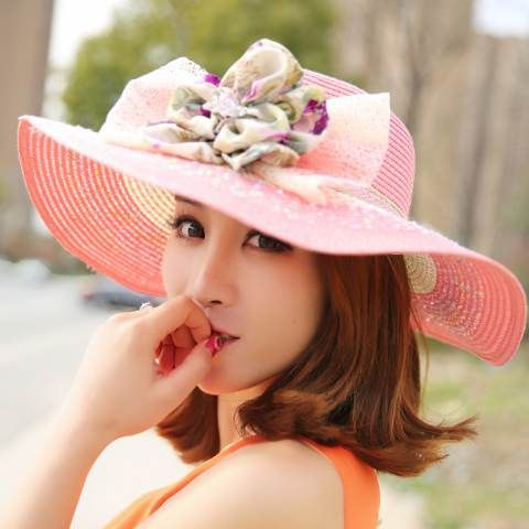 Straw wide brim hats flower decorated sun beach hats for women   sunhatsforwomenvintage 2baef26ac876