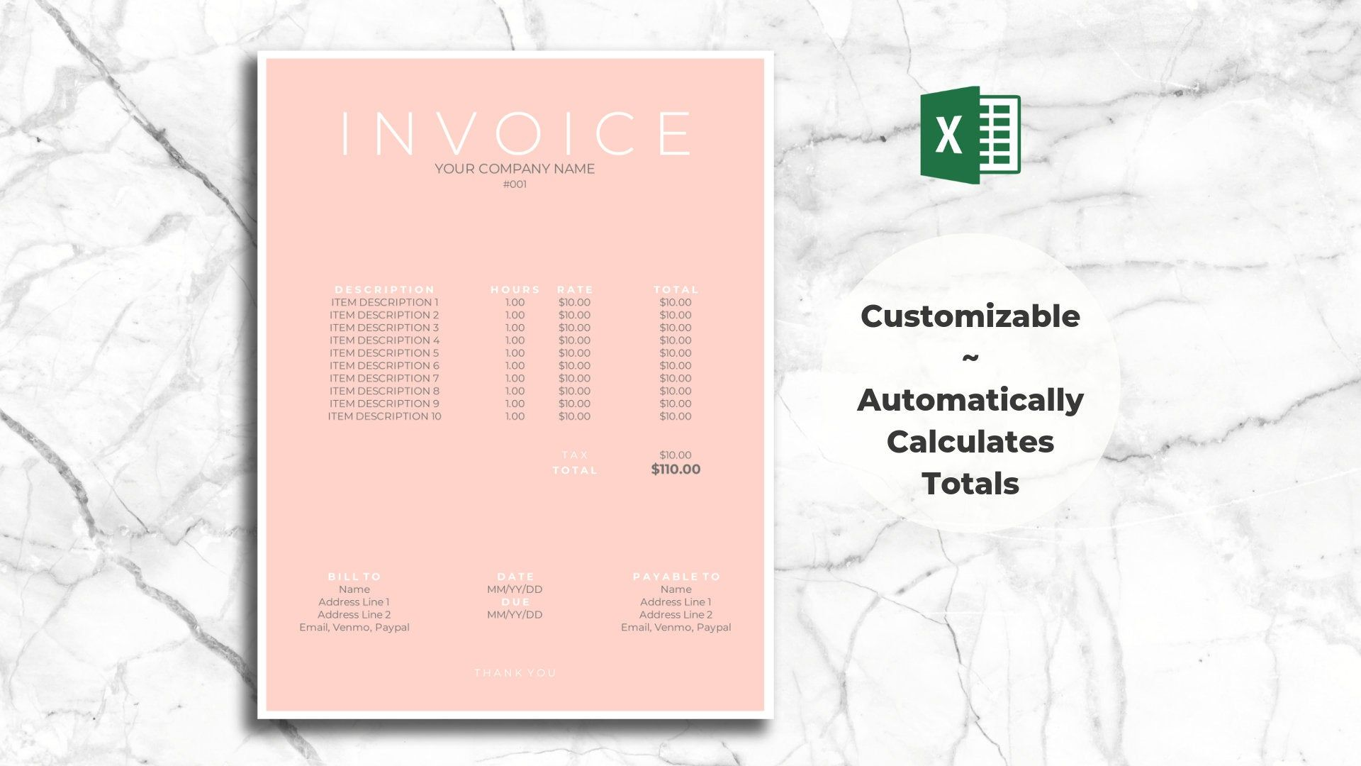 Freelancer Invoice Template For Excel Clean Modern Design Etsy Photography Invoice Invoice Template Digital Download Photography