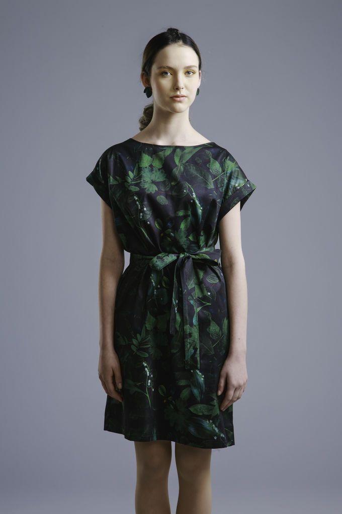 Printtimekko | Silkki / puuvilla lehti mekko | Suomessa valmistettu | Uhana Design | Nudge.fi
