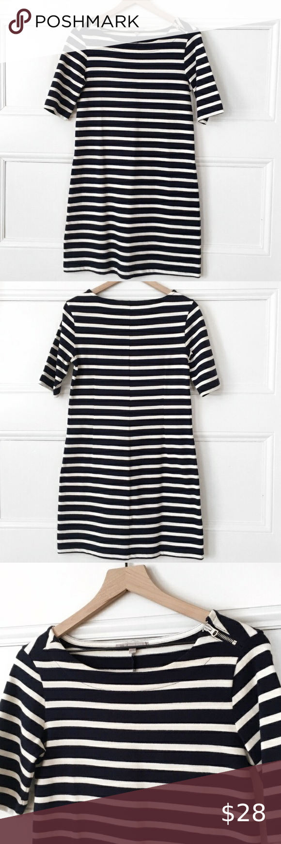 Navy White Striped Casual Dress Zipper Shoulder Excellent Used Condition Very Well Cared Fo Striped Casual Dresses Short Dresses Casual Short Sleeve Dresses [ 1740 x 580 Pixel ]