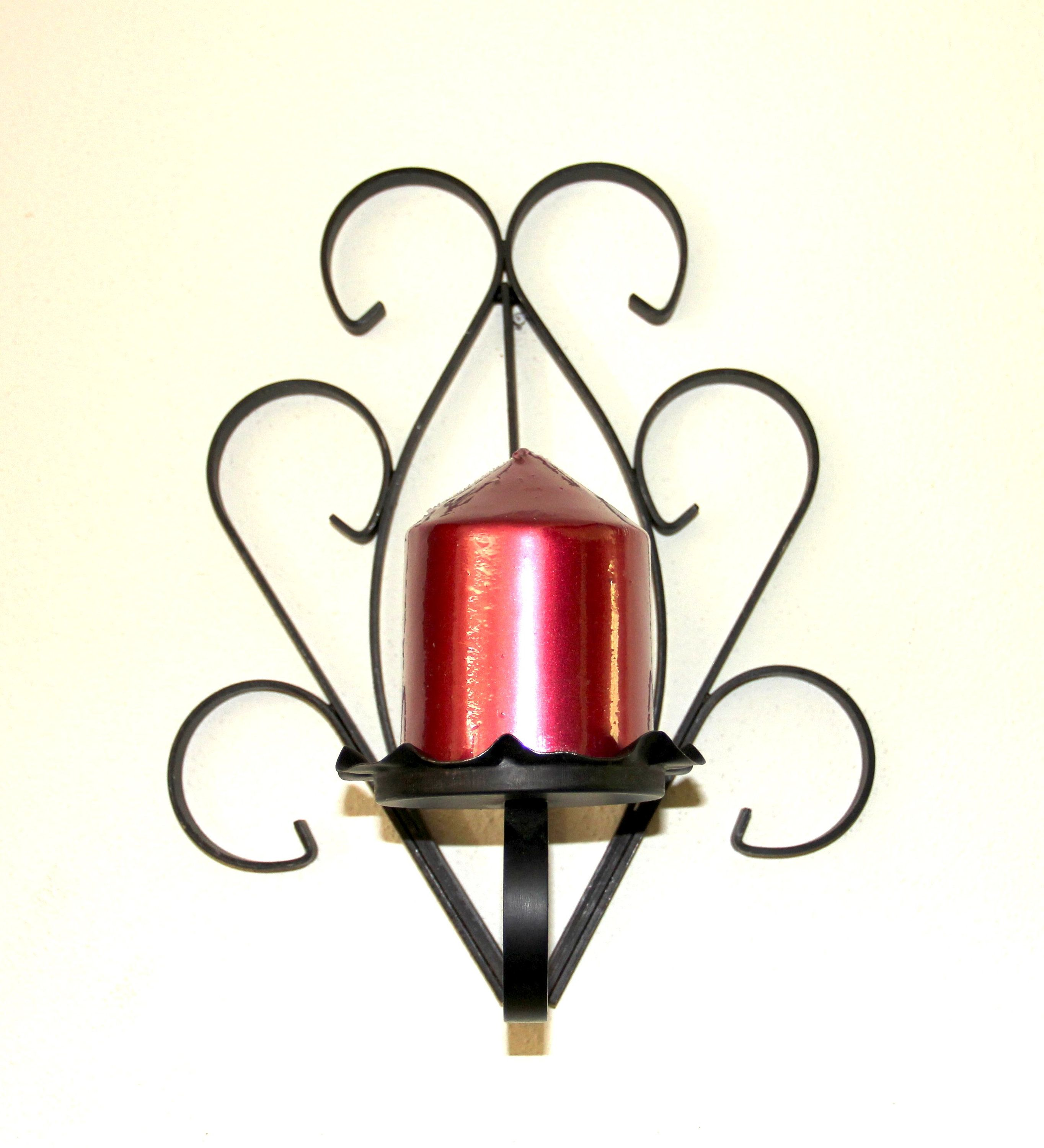 70s Black Wrought Iron Wall Sconce Candle Holder Sconce Vintage