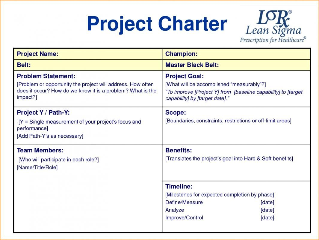 Project Charter Template With Images Project Charter