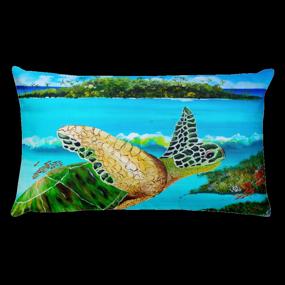 Large Green Turtle • Rectangle Pillow#pillows#kids#kidsroom#kidsdecor#homedecor#livingroomdecor#tropical#beach# coastal#turtle#products#love#mjscraftedconcepts#