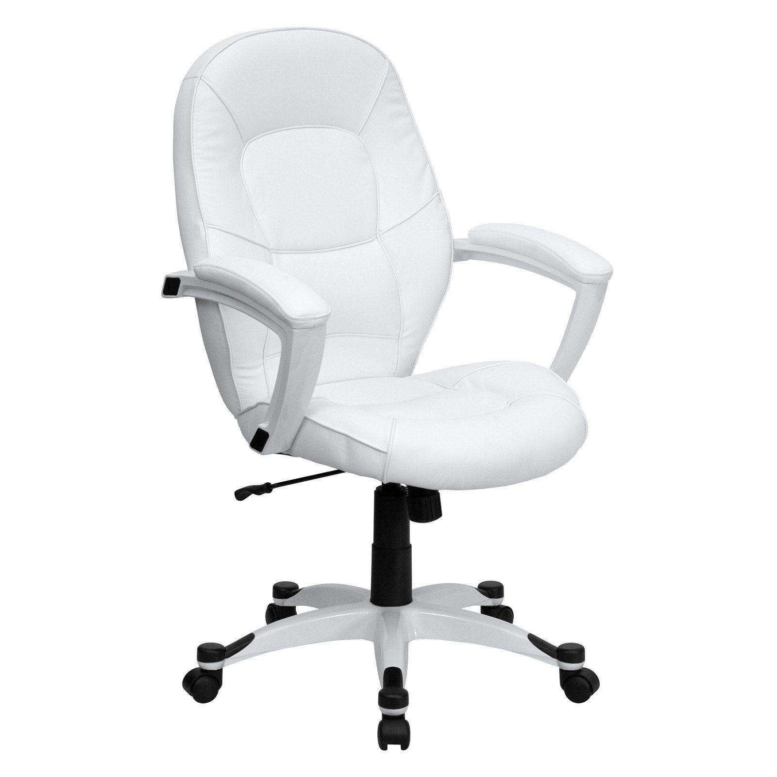 White Desk Chairs Without Wheels Flash Furniture Mid Back Executive Office Chair White Leather In