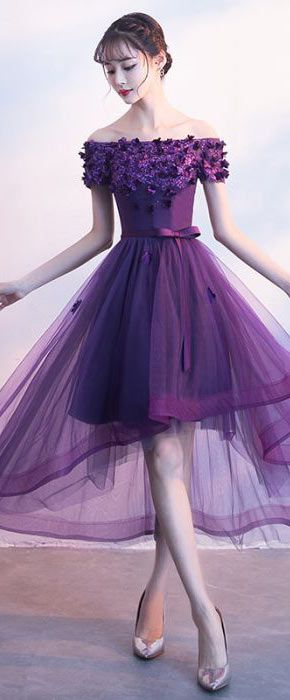 Robe cocktail violette longue
