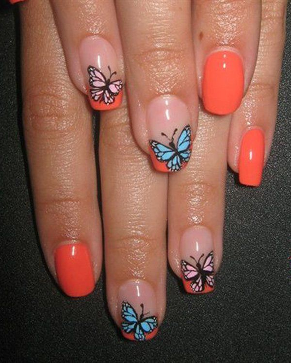 35+ Butterfly Nail Art Ideas | Orange nail polish, Butterfly nail ...