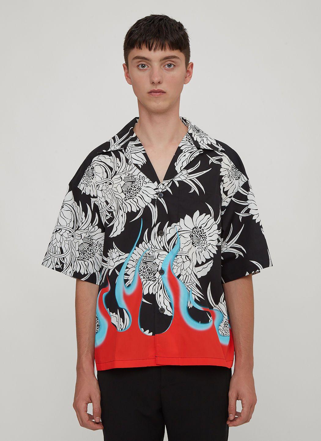 ea5356996 PRADA Flames Hawaiian Bowling Shirt in Black. #prada #cloth ...