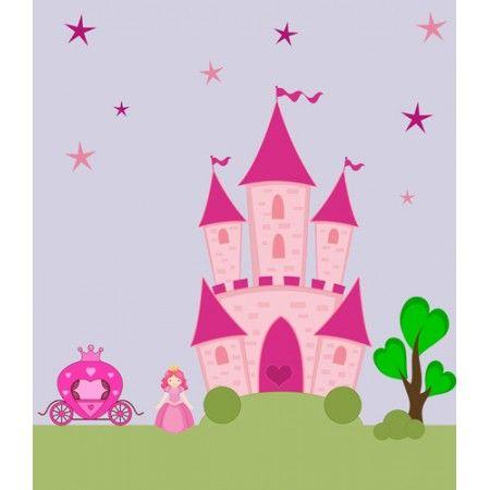 vinilos de castillo infantil de princesa y carroza fabricado en impresin digital laminada sobre vinilo para paredes infantiles con pegatinas de pu