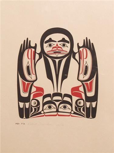 Haida Art Robert Davidson Silkscreen - Raven with a Broken Beak