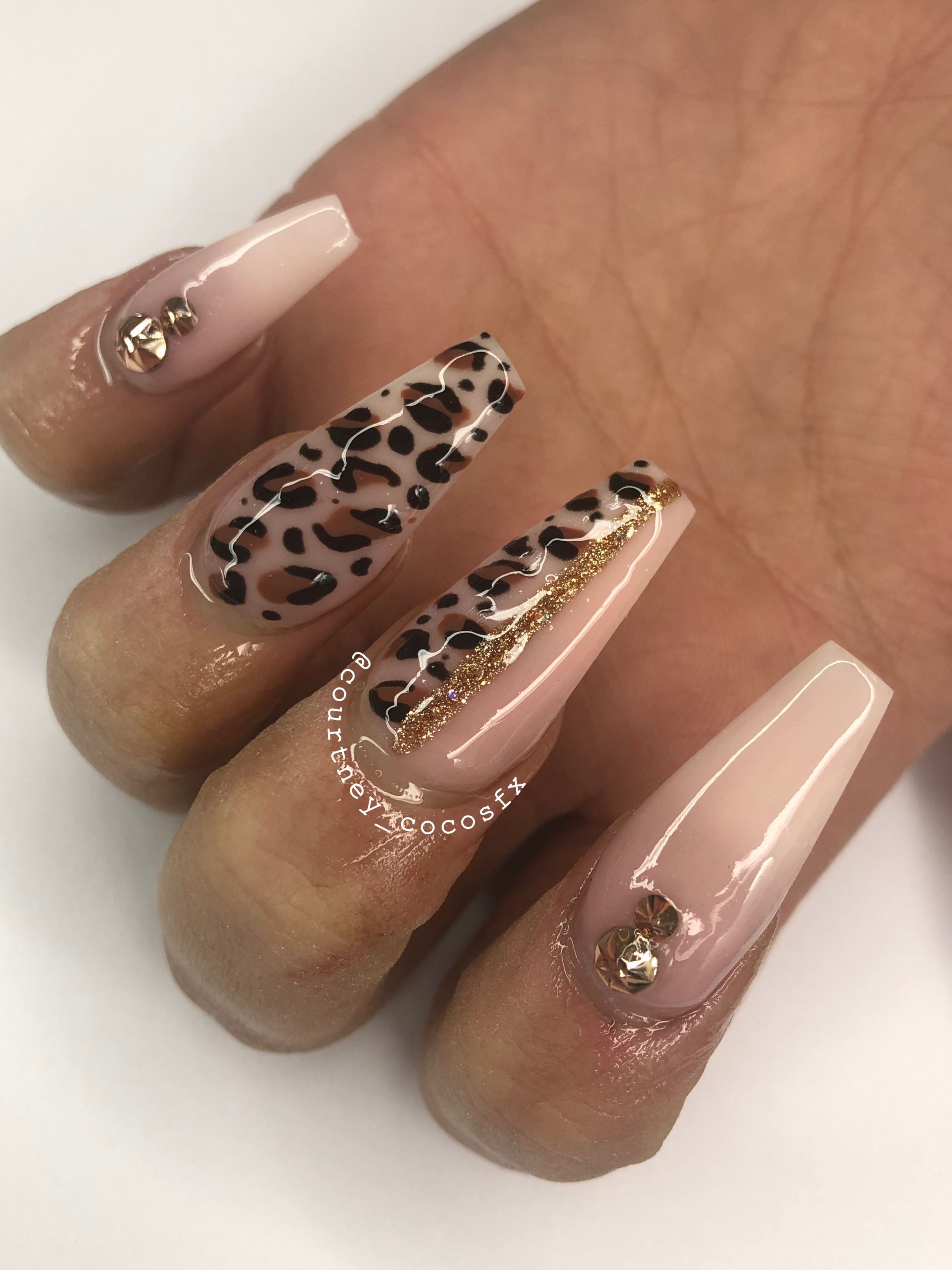 French Ombre With Leopard Print Nail Art Leopard Print Nails Pink Leopard Nails Leopard Nail Designs