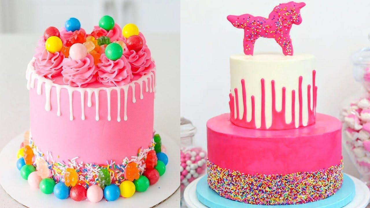 Colorful Birthday Cakes Cute Pink Colored Birthday Cake Ideas