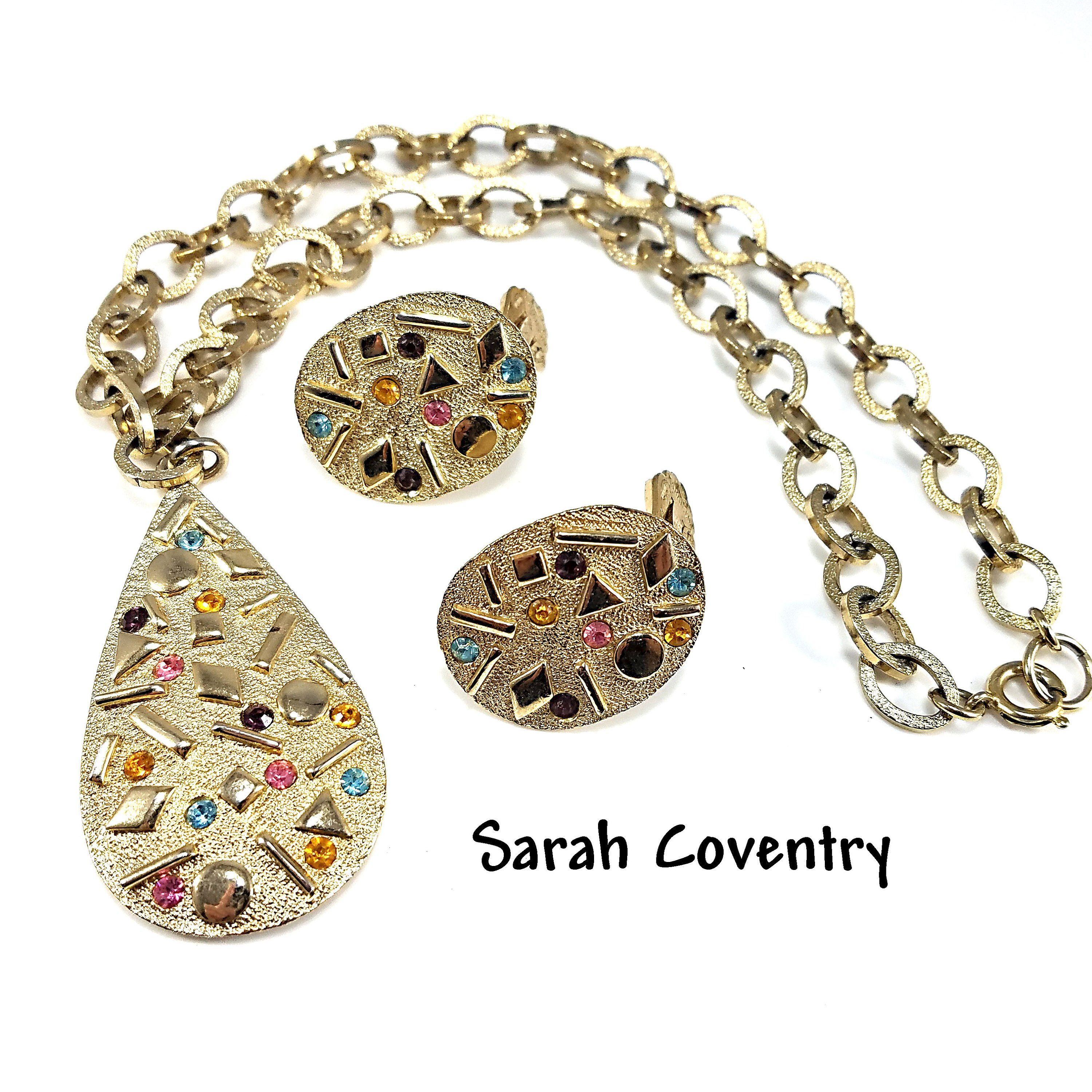 Sale Vintage Sarah Coventry Large Floral Earrings Hand Set Rhinestones Gold Plated