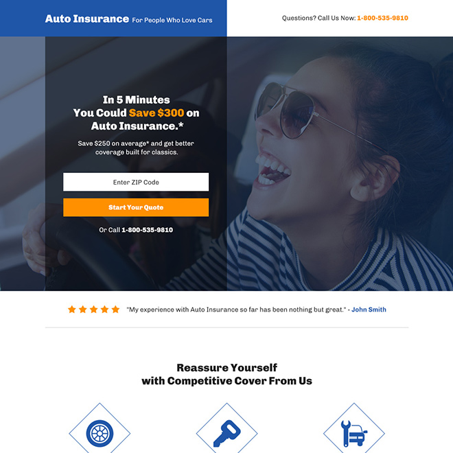 Auto Insurance Coverage Bootstrap Landing Page Car Insurance