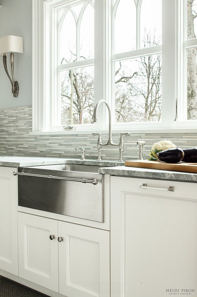 A Sink Farmhouse Stainless Steel Kitchen With Towel Bar Astainlesssteelsink Kitchensinkwithtowelbar Heidi Piron Design