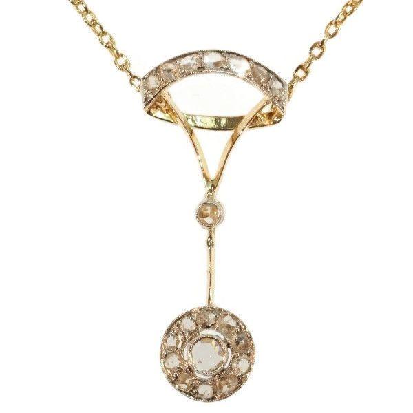 Online veilinghuis Catawiki: Antieke gouden hanger en ketting met roosgeslepen diamanten - 1870