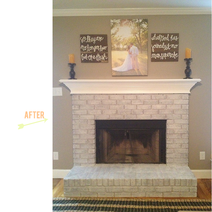 our white-washed fireplace and painted mantel. Several of you requested a tutorial… | Pinteres…