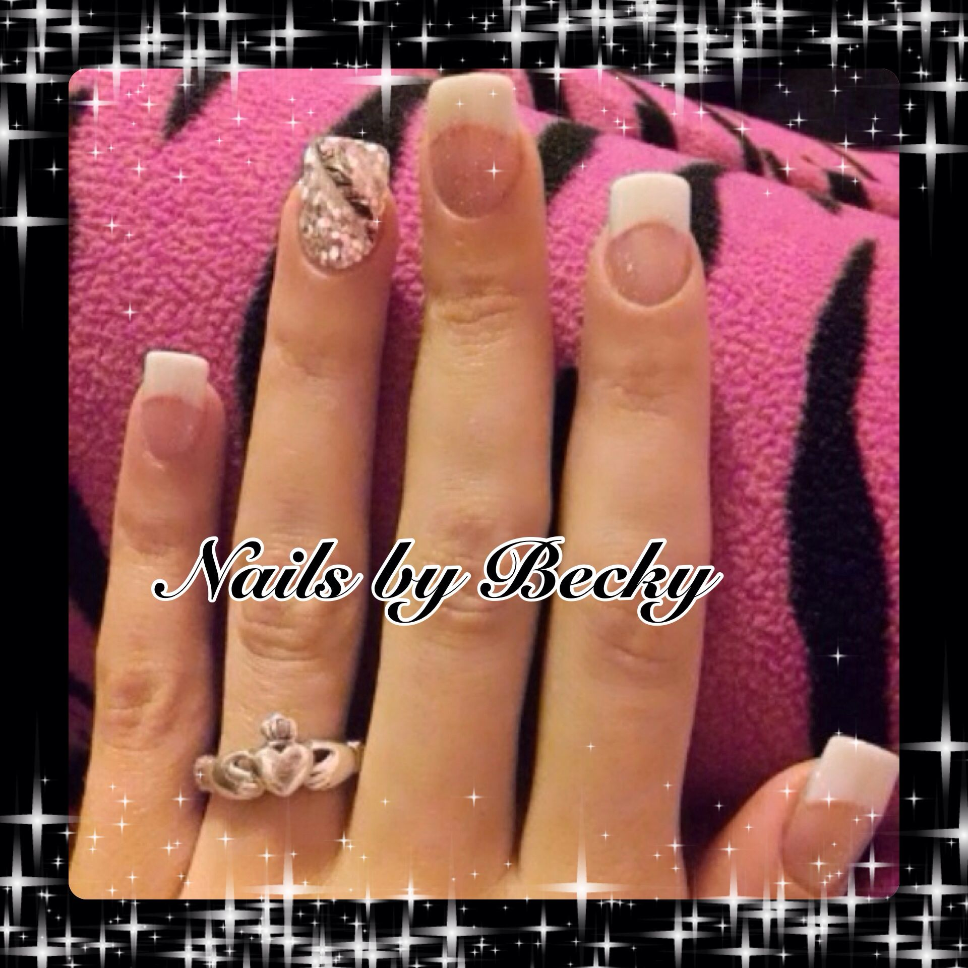 Nails-by-Becky-sparkle-glitter-white-French-feather-silver