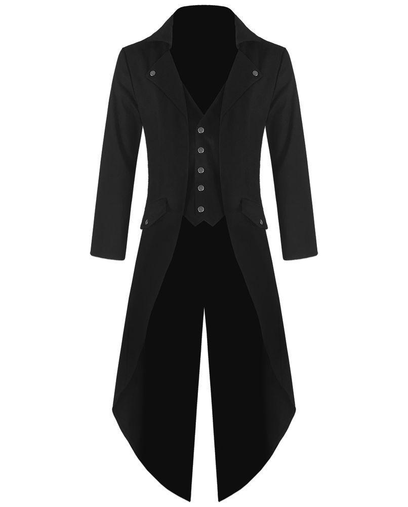 15109272447 Prohibido Para Hombre Steampunk Frac Chaqueta Negro Gótico Victoriano  Abrigo De Colección