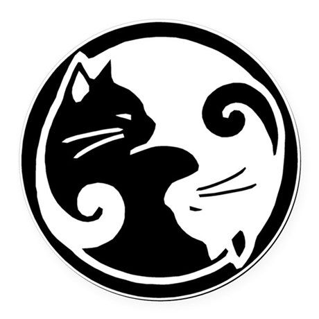 yin yang cats round car magnet n perrykset pinterest car rh pinterest com Cool Yin Yang Vector Wings
