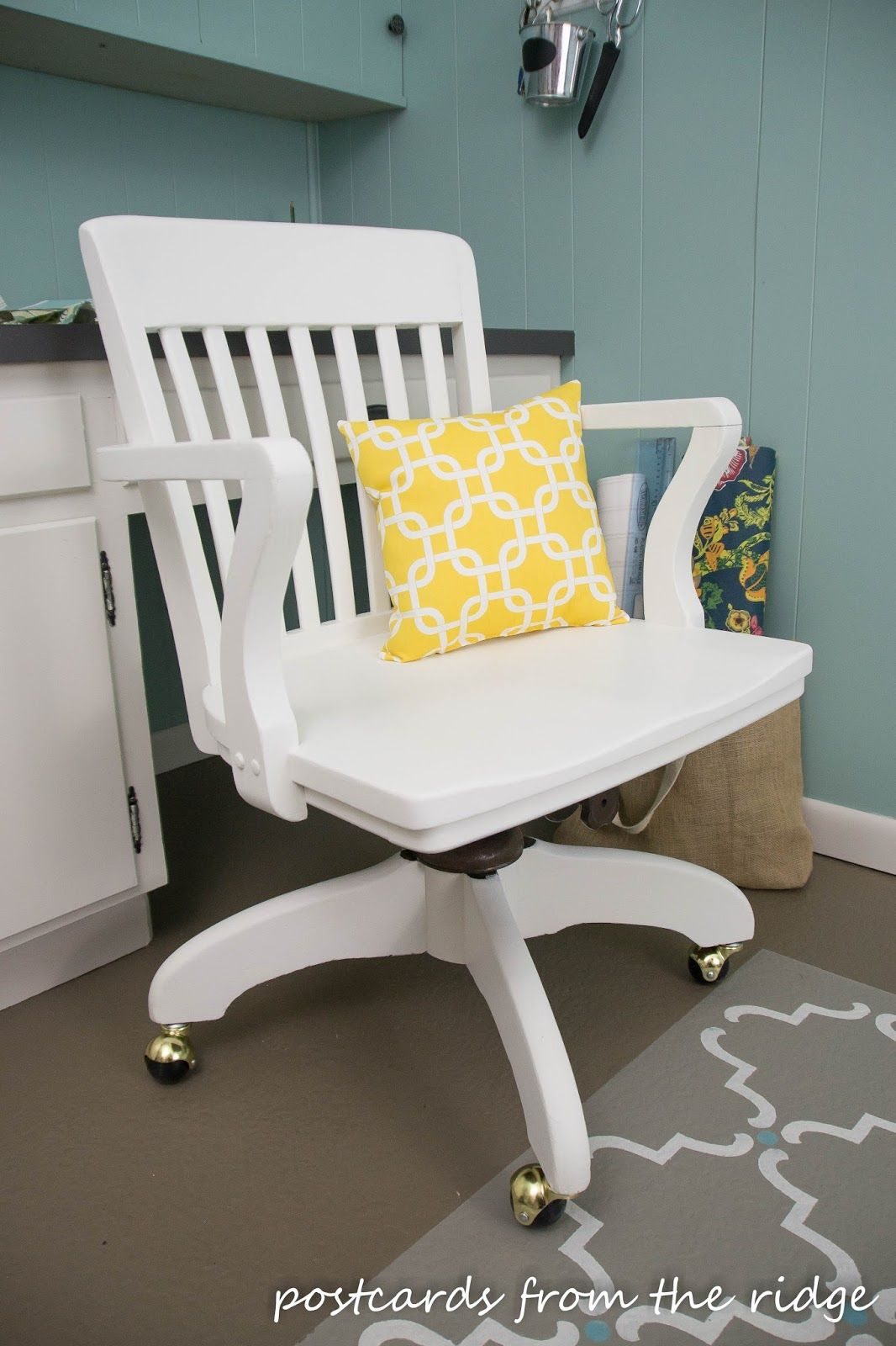wood desk chair no wheels white toddler table and chairs vintage rescue redo swivel office