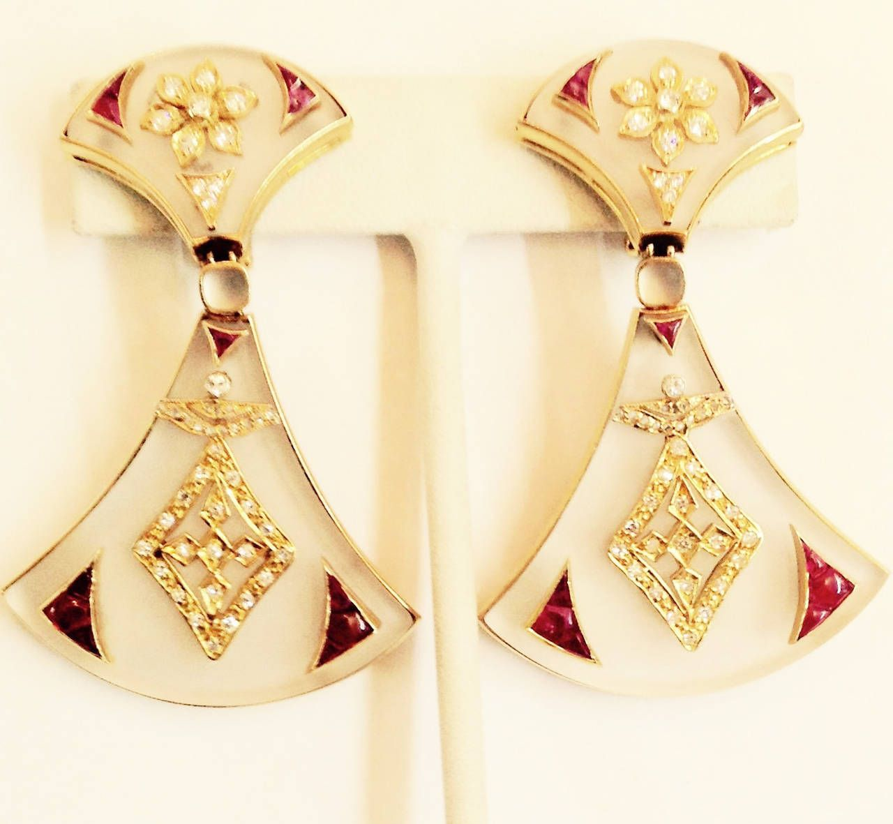 Bulgari Rock Crystal Ruby Diamond Gold Earrings 18kt Yellow Unusual Asian Influenced Design Frosted Embellished With Numerous