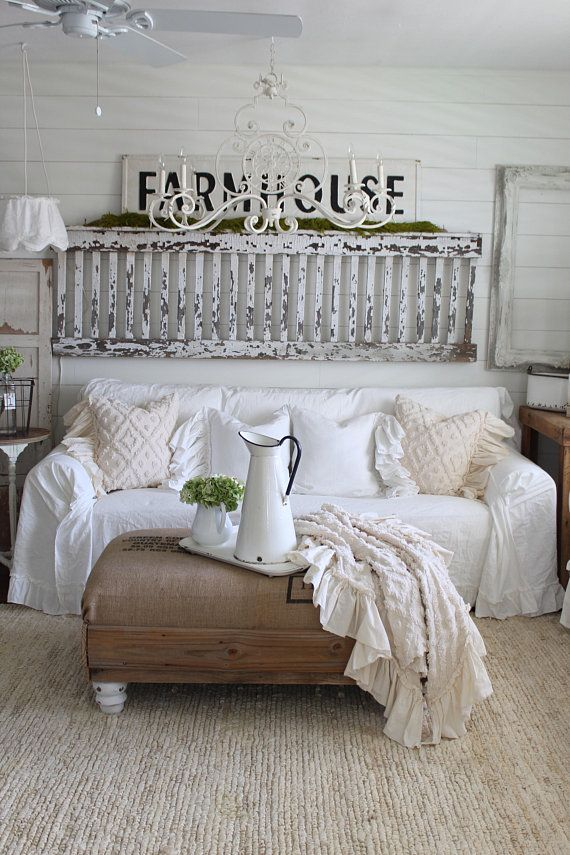 Slipcover Ruffled Sofa Cover Scarf Slip Couch Farmhouse Decor Shabby Chic Cottage Pinterest