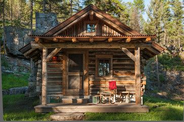 rustic cabins images from montana | Whitefish, Montana Private Historic Cabin Remodel rustic-porch