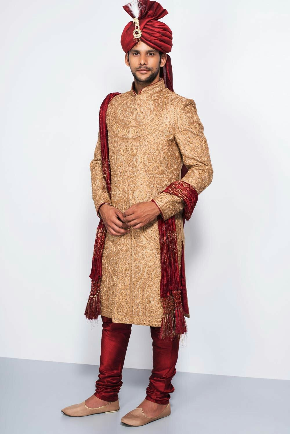 a34ddbd8c1 EKAKSH - golden embroidered all over work sherwani with stole #flyrobe  #groom #groomwear #groomsherwani #sherwani #flyrobe #wedding  #designersherwani