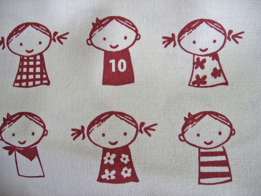 retro red kids / Japanese fabric / putidepome by masonscottage