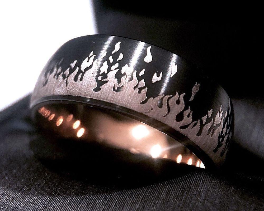 Black Rose Gold Tungsten Ring Mens Wedding Band Men Engagement Ring Fire Ring Rings Mens Wedding Bands Rose Gold Tungsten Ring Tungsten Mens Rings