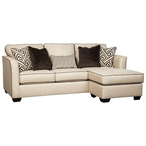 Benchcraft Carlinworth Contemporary Sofa Chaise With Contrast Welts