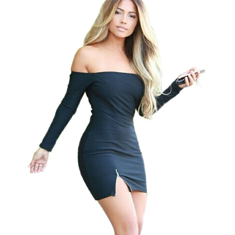 5a7110a4edf0 Autumn Women Dress Zipper Off Shoulder Long Sleeve Dresses Sexy Club  Evening Party Bodycon Mini Dresses Black White