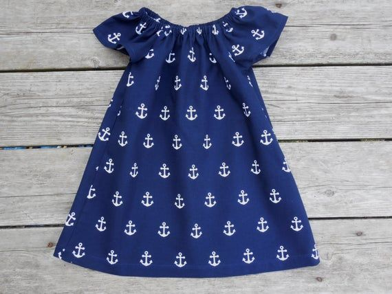 Navy and White Anchor Girls Peasant Dress - Cruise Vacation - Beach Photos - Coming Home - Vacation #beachvacationclothes