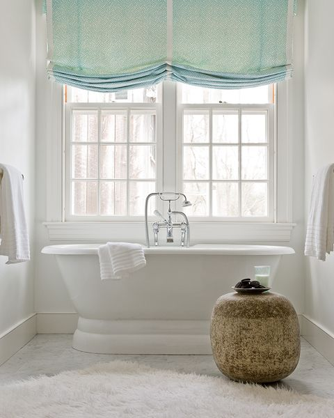 Bathroom With Freestanding Tub Marble Tiles Floor White Flokati Rug And Green Roman Shades