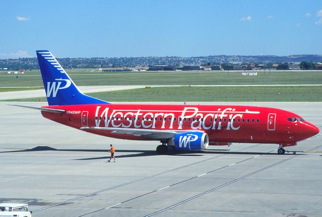 Western Pacific Airlines Boeing 737-3K9 N945WP at Colorado Springs Municipal, July 1996.