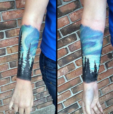 9e1a3aa087bc7 50 Northern Lights Tattoo Designs For Men - Aurora Borealis Ideas ...