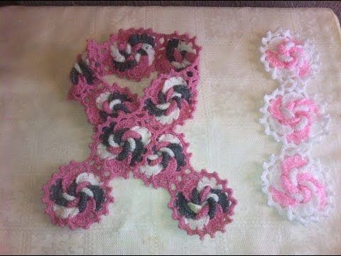 Como tejer a Crochet bufanda de flores y arabescos en relieve gancho ...