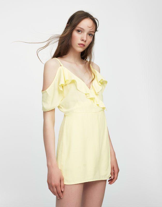 4419d69b2a Pull Bear - mujer - ropa - vestidos - mono volante hombros cut out -  amarillo - 09391305-I2017