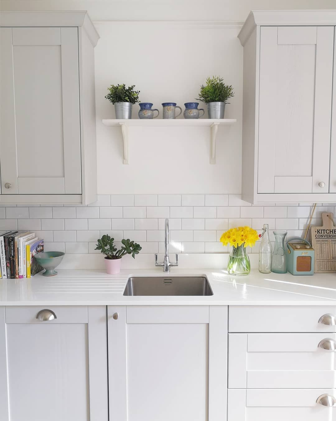 Bright And Light Shaker Kitchen With White Metro Tiles Grey