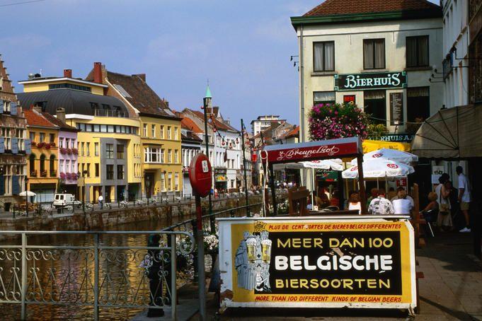 Beerhouse on River Lei, Ghent, Belgium.