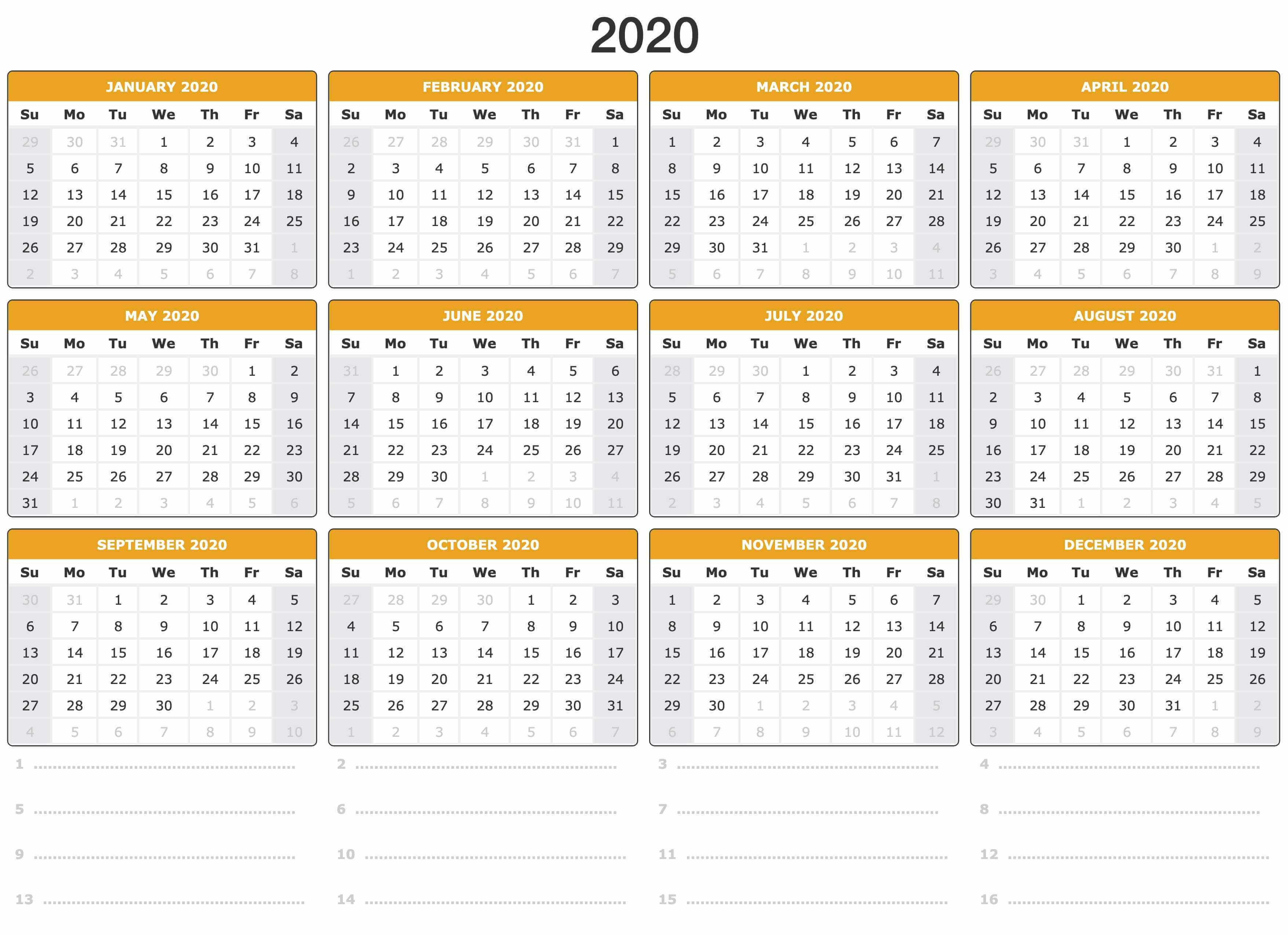 Yearly 2020 Calendar Template Printable Pdf Word Excel Free