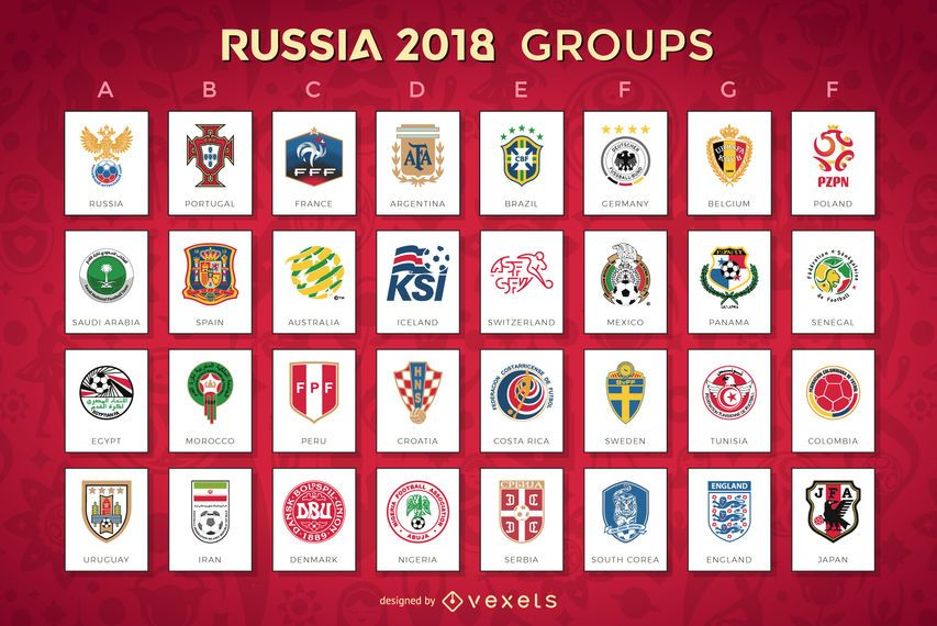 Russia 2018 World Cup Design Featuring Every Team Playing Divided By Groups Each Design Has The Emblem Or Shield Russia World Cup 2018 Teams Russia World Cup