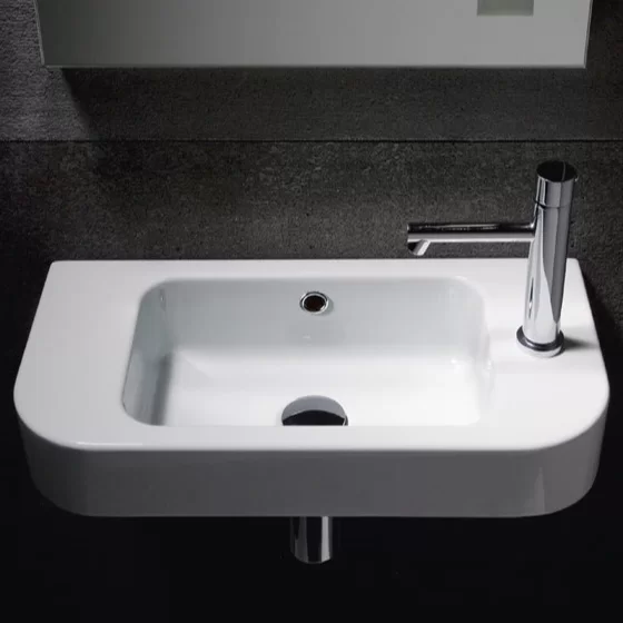 Traccia Ceramic 22 Wall Mount Bathroom Sink With Overflow Wall