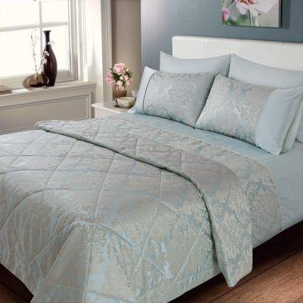Elizabeth Jacquard Damask Bedspread Duck Egg Bed Sheets Cheap Bedding Sets Duvet Bedding Sets