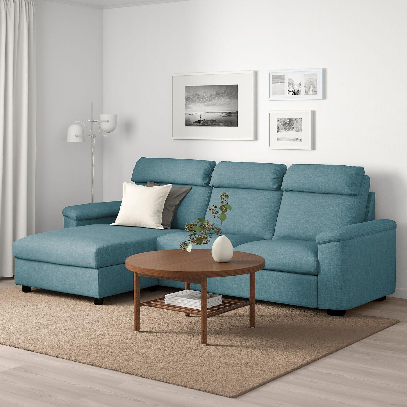 Lidhult Sofabed With Chaise Gassebol Blue Gray Sofa Sofa Back Cushions Sleeper Sofa