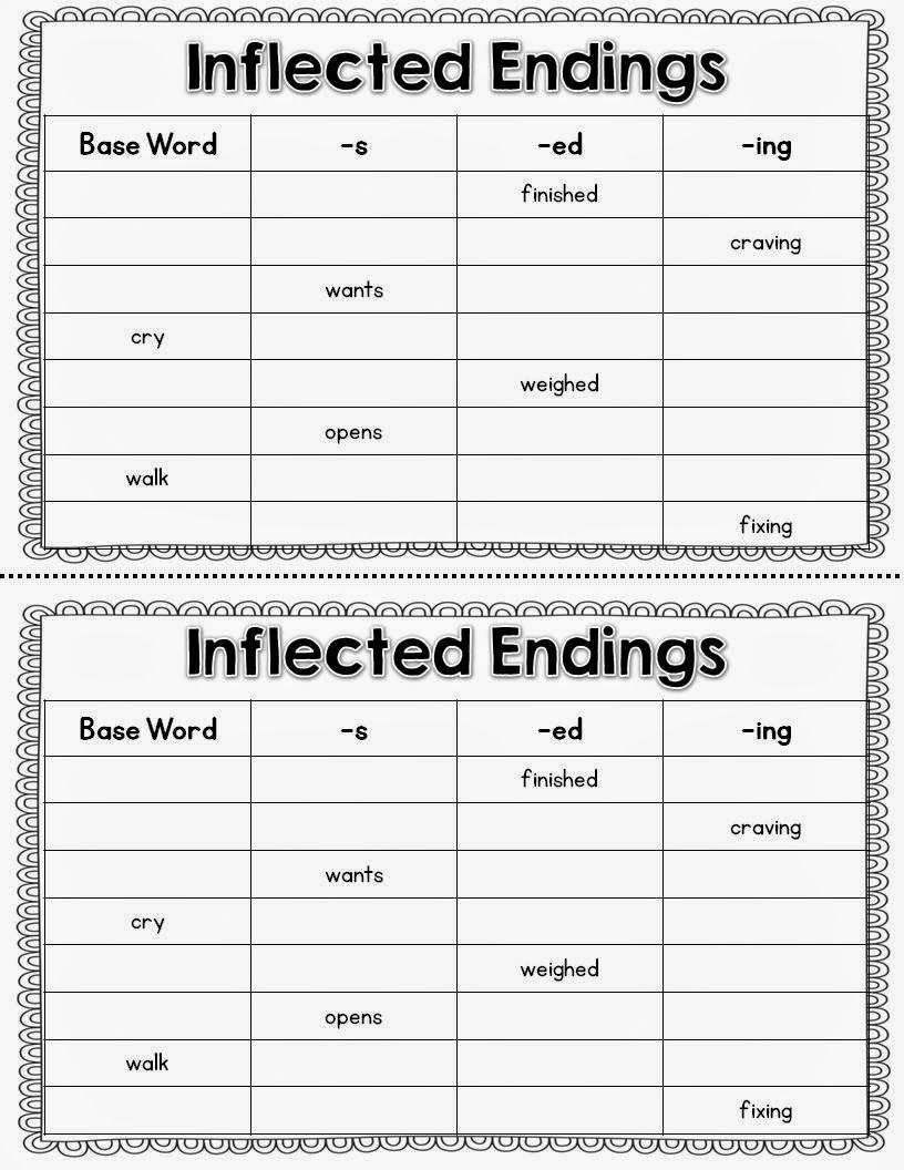 hight resolution of Inflected Endings--words chosen from The Wolf's Chicken Stew   Inflectional  endings