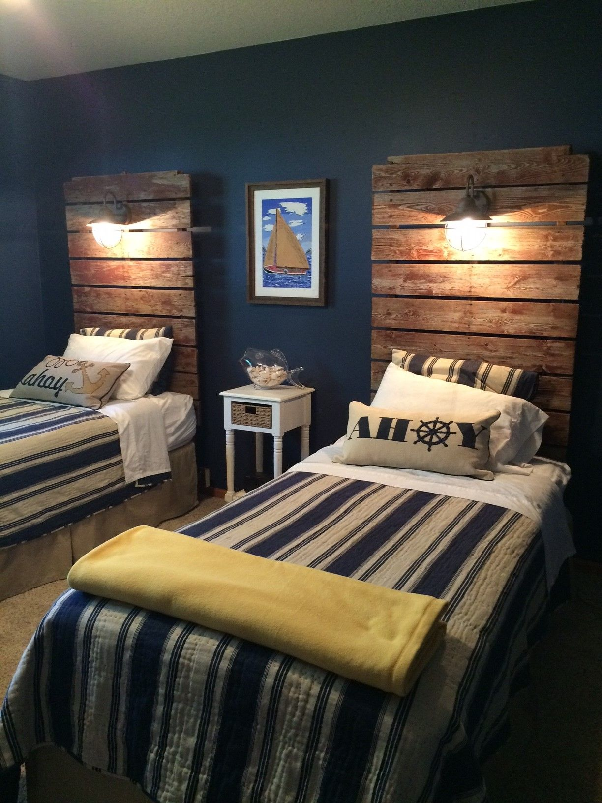 Headboards Made From Our Old Dock Sections With Wired Lights So Cute Reclaimed Wood Dock Section Nautical Twin Beds Home Decor Bedroom Boys Bedroom Furniture Guest Bedrooms