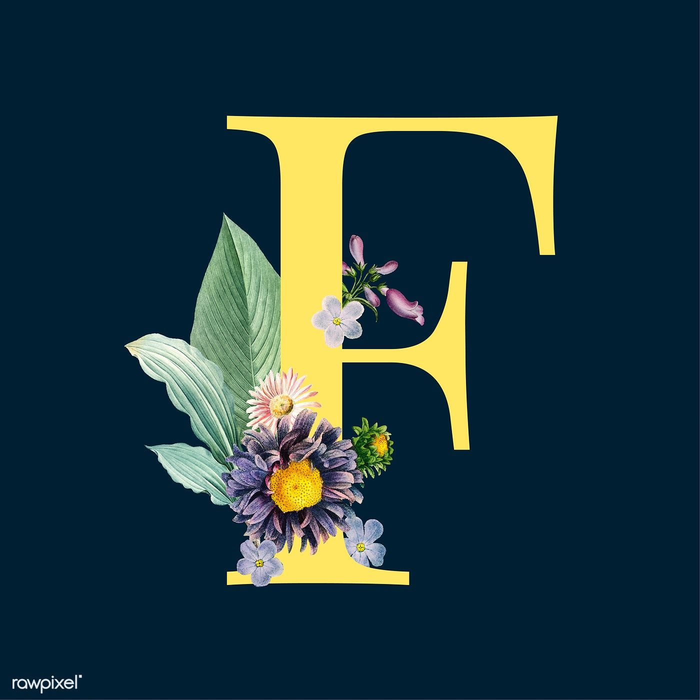 Yellow letter F decorated with hand drawn various flowers
